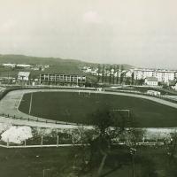 Jesenska podoba stadiona leta 1964 (Tomažič - iz zbornika ob petdeseti obletnici speedwaya v Ljubljani)