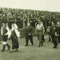 Mimohod pred več kot petnajst tisoč gledalci (Tomažič - iz zbornika ob petdeseti obletnici speedwaya v Ljubljani)