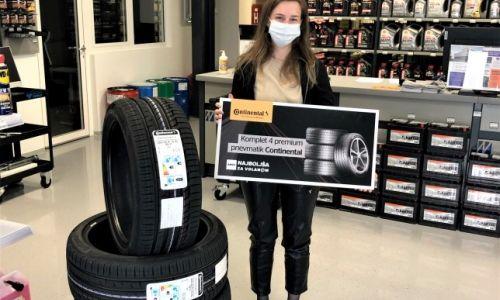 Nagrajenka prevzela Continentalove pnevmatike
