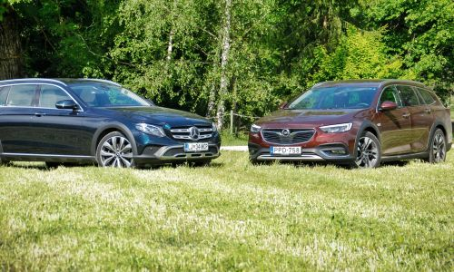 Primerjamo: Mercedes E 220 d 4-matic all-terrain in opel insignia 2.0 CDTI biturbo 4x4 country tourer